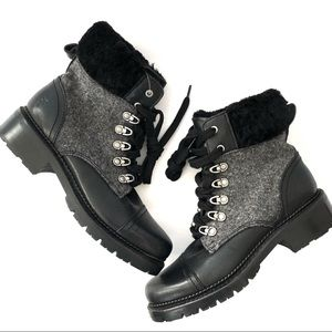Frye Samantha Hiker Fur Combat Boots